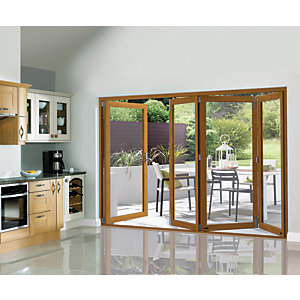 Wickes Eden Oak Veneer Folding Patio Doorset 10ft Wide Reversible