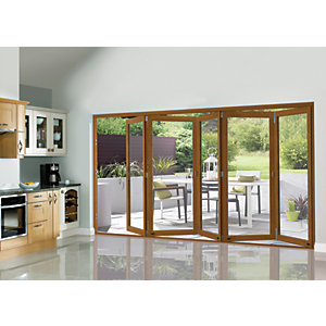 Wickes Eden Oak Veneer Folding Patio Door 12ft Wide Reversible