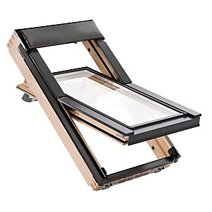 Wickes Thermo Plus Roof Window Pine Centre Pivot Clear Glass 980x780mm