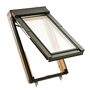 Wickes Fire Escape Roof Window Pine Top Hung Clear Glass 1180x660mm