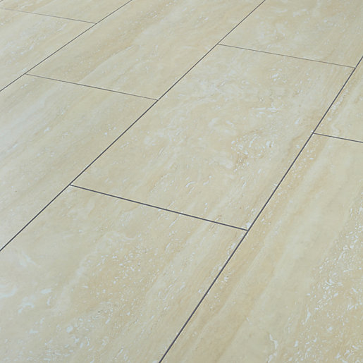 Wickes travertine tile effect laminate flooring for Laminate tile squares