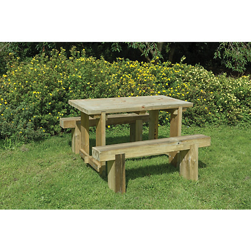 Forest Garden Sleeper Bench and Table Set 1 2m