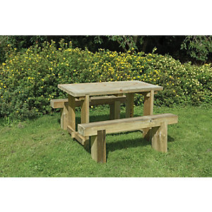 Forest Garden Sleeper Bench and Table Set 1.8m