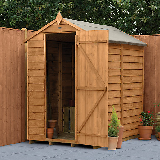 wickes overlap dip treated apex shed no windows 4x6. Black Bedroom Furniture Sets. Home Design Ideas