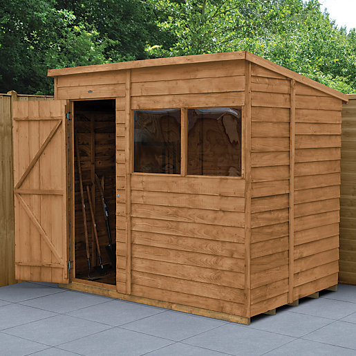 Wickes overlap dip treated pent shed 7x5 for Garden shed 7x5