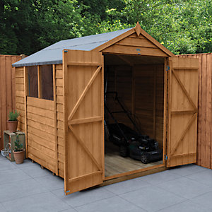 Wickes Overlap Dip Treated Apex Shed Double Doors 6x8