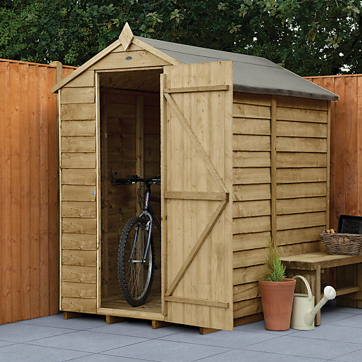 Wickes overlap pressure treated apex shed no windows 4x6 for Garden shed 4x6