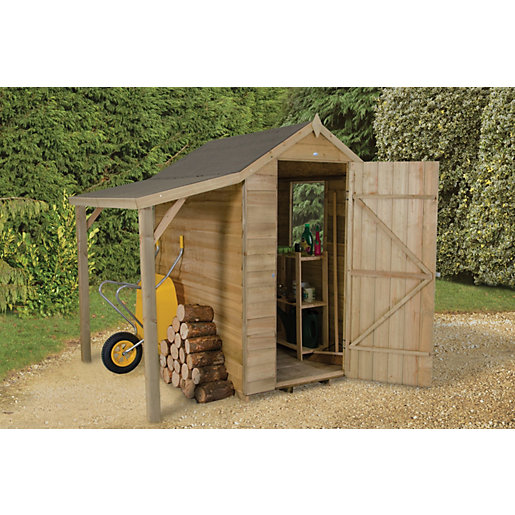 wickes overlap pressure treated apex shed 4x6 with shelter. Black Bedroom Furniture Sets. Home Design Ideas
