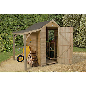 Wickes Overlap Pressure Treated Apex Shed 4x6 with Shelter