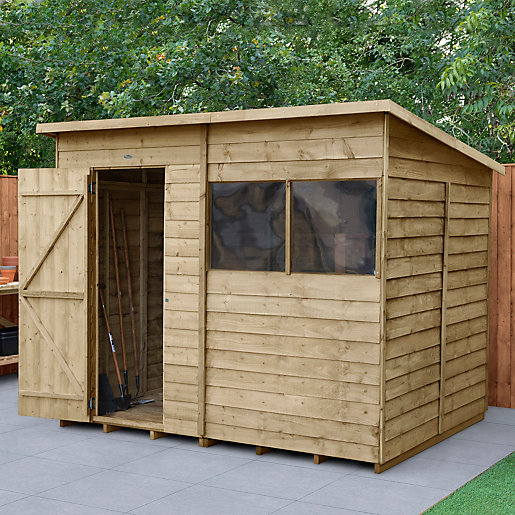 wickes overlap pressure treated pent shed 8x6. Black Bedroom Furniture Sets. Home Design Ideas