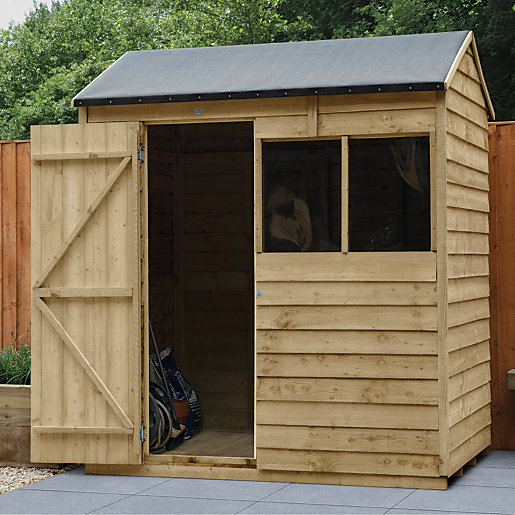 wickes overlap pressure treated reverse apex shed 6x4. Black Bedroom Furniture Sets. Home Design Ideas