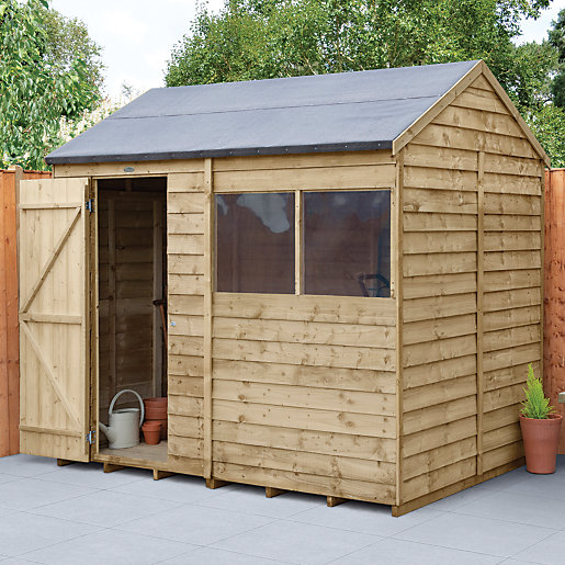 wickes overlap pressure treated reverse apex shed 8x6. Black Bedroom Furniture Sets. Home Design Ideas