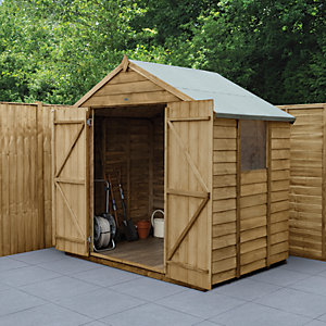 Wickes Overlap Pressure Treated Apex Shed Double Doors 7 x 5