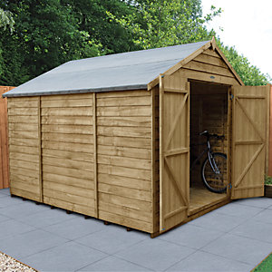 Wickes Overlap Pressure Treated Apex Shed Double Doors No Windows 8x10