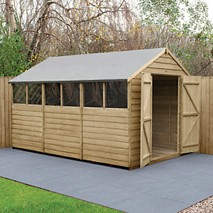 Wickes Overlap Pressure Treated Apex Shed Double Doors 8x12