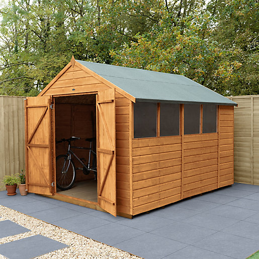 wickes shiplap dip treated apex shed double doors 8x10. Black Bedroom Furniture Sets. Home Design Ideas