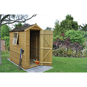Wickes Tongue & Groove Pressure Treated Apex Shed 4x6