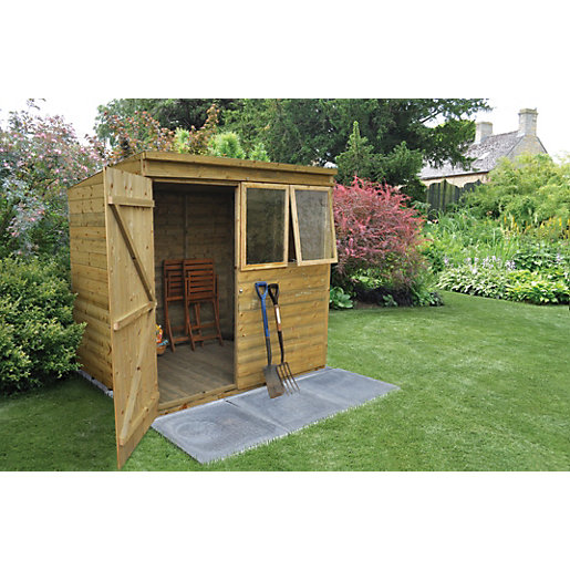 Wickes tongue groove pressure treated pent shed 7x5 for Garden shed 7x5
