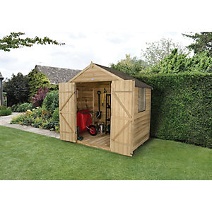Wickes Overlap Pressure Treated Apex Shed Double Doors 7x5 Click and Collect Only