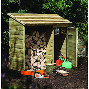 Forest Garden Large Log Store with Tool Storage 1520x1760x690mm Natural