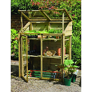 Forest Garden Mini Wooden Greenhouse 0.62 x 1.44 x 1.2m