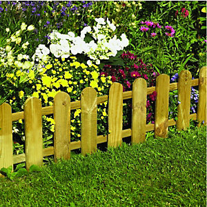 Wickes Timber Picket Fence Style Border Edging 280mmx 1.1m
