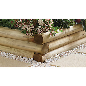 Wickes Shaped Garden Sleeper 108 x 127mm x 1.8m Natural Timber