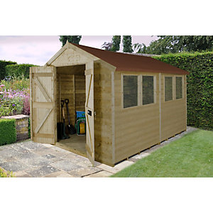 Tongue and Groove Pressure Treated Double Door Apex Shed 2438mm x 3048mm
