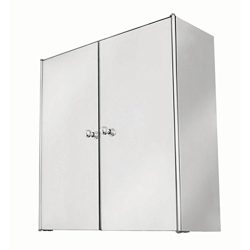 wickes bathroom double mirror cabinet stainless steel 440mm wickes