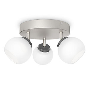 Philips Balla LED 3 Plate Spotlight Matt Chrome & Frosted Glass