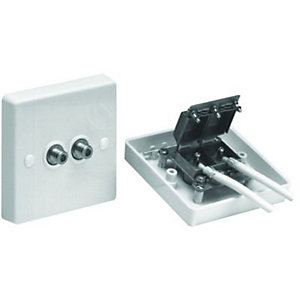 Wickes F Satellite Screened Twin Outlet Plate