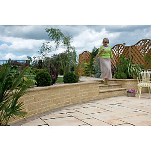 Wickes Drivesett Tegula Walling 440x100mm Buff 80 pack