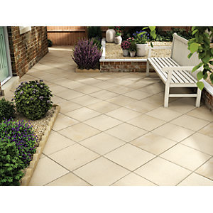 Wickes Buxton Paving 450x450mm Buff Single