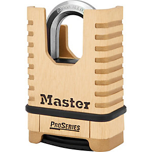 Master Lock ProSeries™ 1177D 4 Digit Resettable Shrouded Shackle Brass Padlock 57mm
