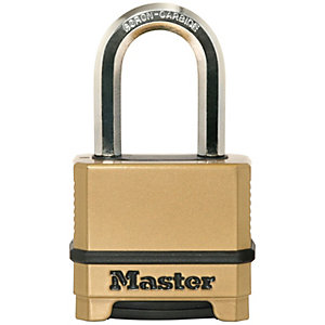 Master Lock Excell™ M175EURDLF 4 Digit Resettable Long Shackle Brass Plated Padlock 50mm