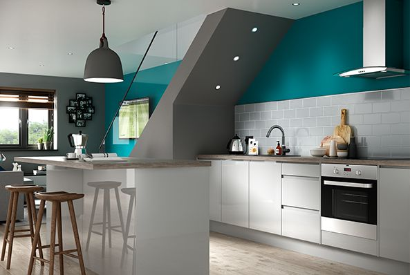 Madison grey handle less kitchen for Long kitchen wall units
