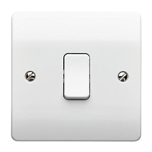 MK Light Switch 1 Gang 10A 1 Way SP Plate Switch K4870WHI