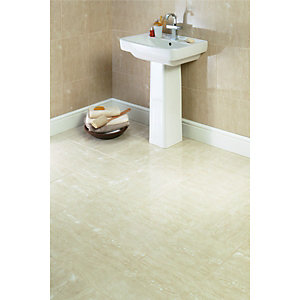 Wickes Beige Matt Travertine Effect Ceramic Floor Tile 330x330mm