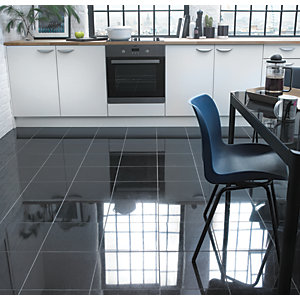 Wickes Black Polished Natural Granite Floor Tile 305x305mm