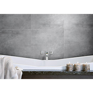 Wickes Grey Matt Porcelain Floor Tile 300x600mm
