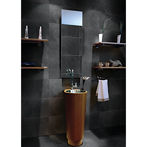 Wickes Charcoal Grey Honed Porcelain Wall & Floor Tile 300 x 600mm
