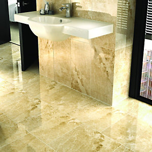 Wickes Nevada Dark Brown Gloss Marble Effect Ceramic Wall & Floor Tile 450x450mm