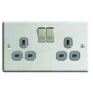 Wickes 13A Switched Socket 2 Gang Brushed Steel Raised Plate