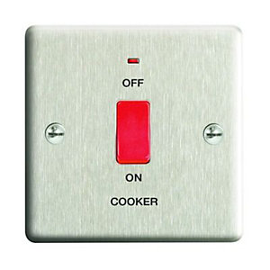 Wickes 45A Cooker Switch 1 Gang Brushed Steel Raised Plate