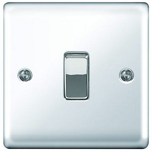 Wickes 10A Light Switch 1 Gang 2 Way Polished Chrome Raised Plate