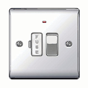 Wickes 13A Switched Fused Socket + LED Screwed Raised Flat Plate Polished Chrome