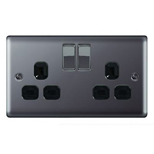 Wickes 13A Switched Socket 2 Gang Black Nickel Raised Plate