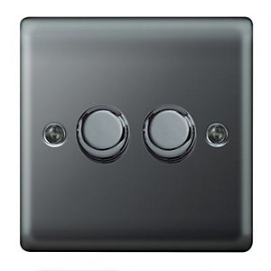 Wickes Dimmer Switch 2 Gang 2 Way 400W Black Nickel Raised Plate