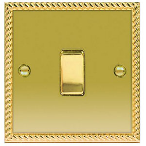 Wickes 10A Light Switch 1 Gang 2 Way Polished Georgian Brass