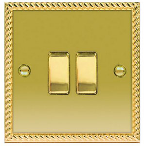 Wickes 10A Light Switch 2 Gang 2 Way Polished Georgian Brass